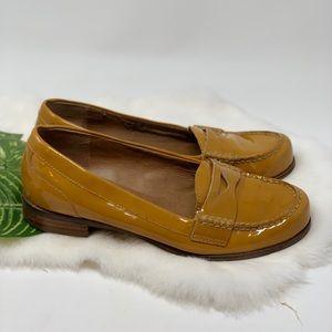 Franco Sarto Patent Mustard Loafers